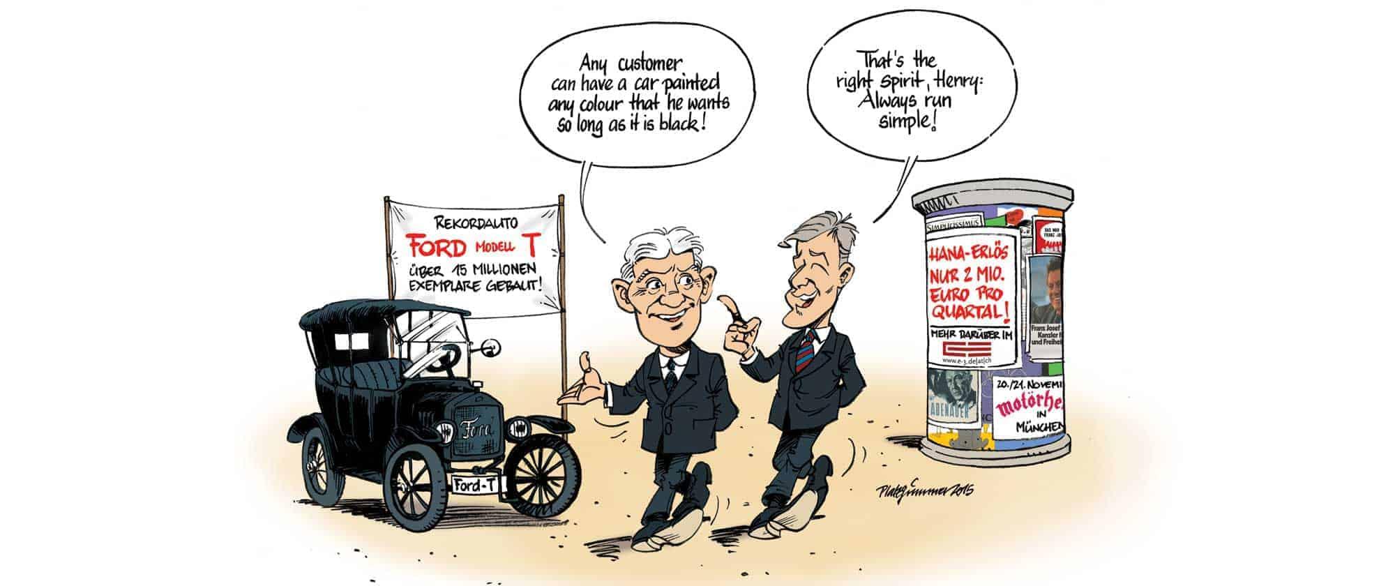 Robert Platzgummer, e3zine.com Cartoonist: SAP CEO Bill McDermott on Hana [E-3 Magzine (German) June 2015]