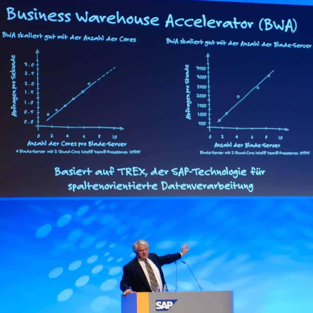 Professor Hasso Plattner, SAP: Hana, the successor to Business Warehouse Accelerator based on Trex and In-memory Computing [SAP World Tour 2009 Mannheim, Germany]