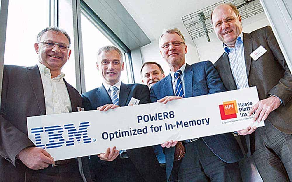 At the Hasso Plattner Institut (HPI), Wolfgang Wendt, Vice President, IBM Systems Hardware Sales Europe, handed over to Prof. Dr. Christoph Meinel, CEO of the HPI, and Prof. Andreas Polze, Chair for Operating Systems and Middleware a new Power8-System suited to run SAP Hana.