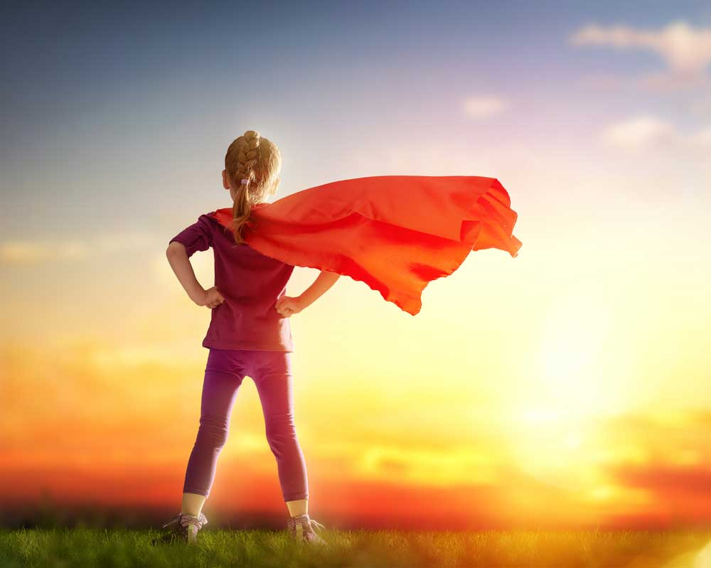 Hana on Power (HoP) - little child girl plays superhero. [shutterstock: 361236566, Yuganov Konstantin]
