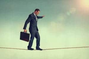 "SAP might be walking on a tightrope with its strategy ""Cloud Only"". [shutterstock: 198093935, eelnosiva]"
