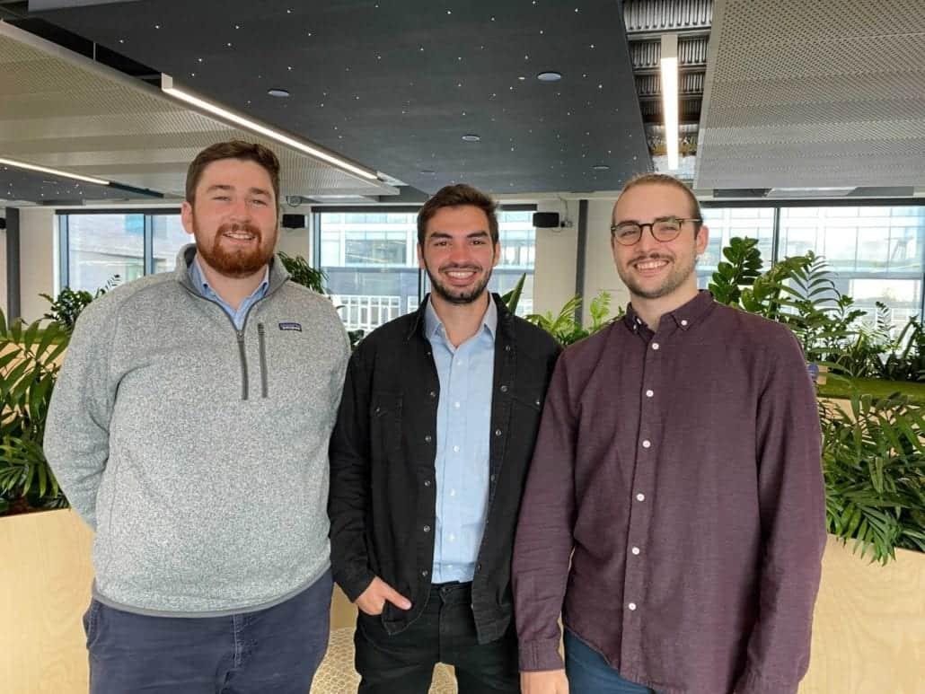 Emitwise founders Ben Peddie (left), Mauro Cozzi (middle) and Eduardo Gómez (right).